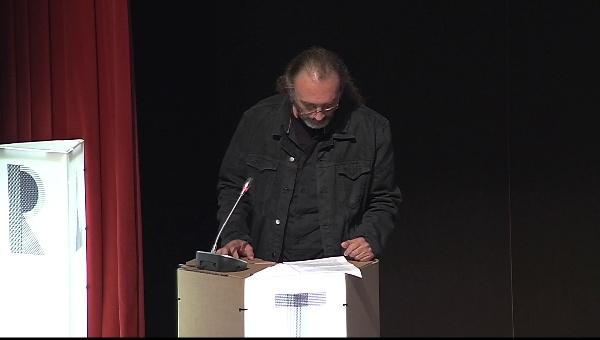Ilustrafic 2. Conferencia de Miguel Noguera, presentada por José Luis Cueto. Auditorio Alfons Roig, BBAA, UPV, Valencia.