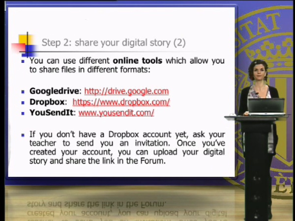 Sharing, presenting and assessing your digital stories and making-of presentations