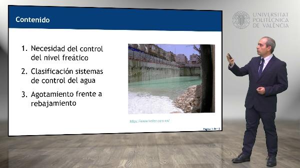 Clasificación de las técnicas de control del agua en las excavaciones