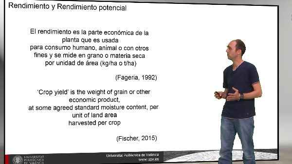 El rendimiento de los cultivos. Conceptos clave