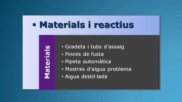 Assajos qualitatius d'alguns anions en aigües