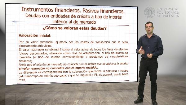Deudas con entidades financieras a tipo de interés inferior al de mercado