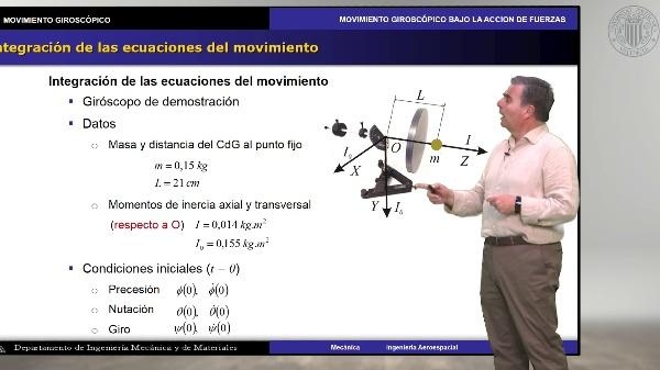 Demostración del movimiento giroscópico bajo la acción de fuerzas
