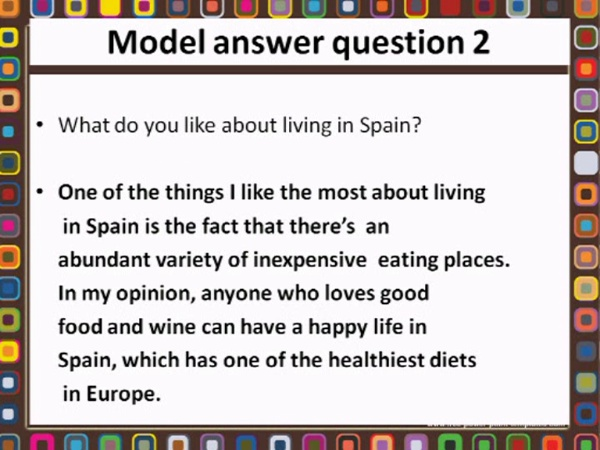 FCE Speaking Part 1. model answer