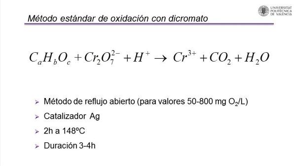 Determinación de la materia orgánica: Demanda Química de Oxígeno