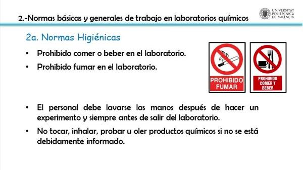 Comportamiento en prácticas de laboratorio con riesgo químico. Normas básicas