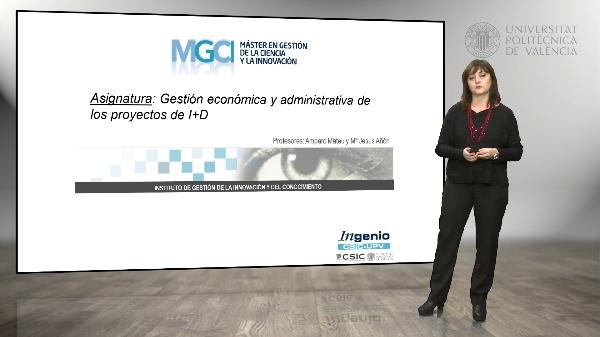 Asignatura, Gestión económica y administrativa de los proyectos de I+D