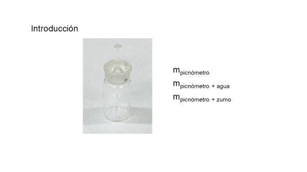 Determinación experimental de la densidad de un líquido