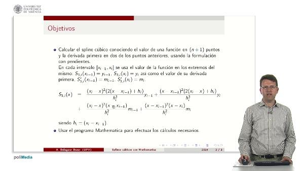 Splines cúbicos usando el método de resolución con pendientes y el programa Mathematica