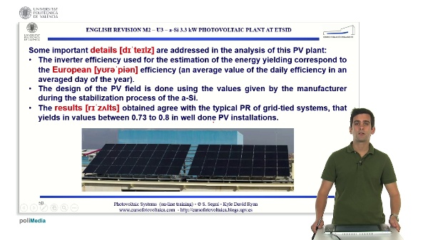 M2.U3. a-Si 3.3 kW photovoltaic plant at ETSID (Example 4). English Grammar / spelling revision