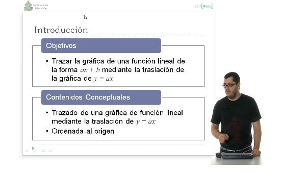 Gráfica de una función lineal en dos variables por traslación