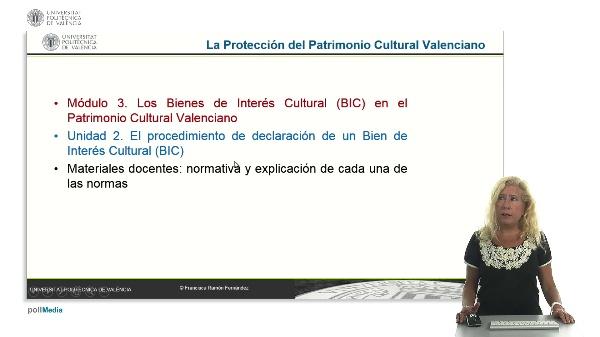 La protección del Patrimonio Cultural Valenciano. Modulo 3. Unidad 2.