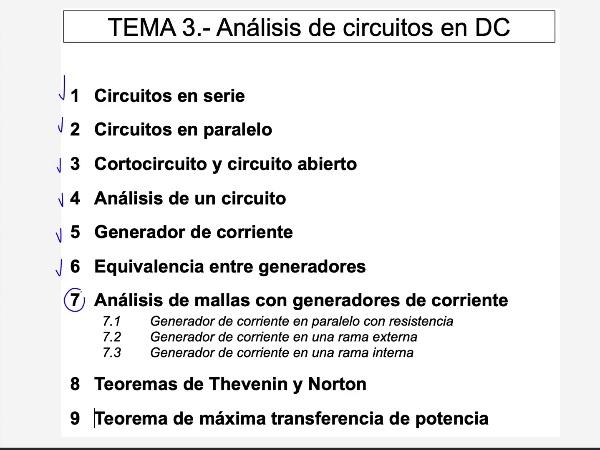 Teoría de Circuitos 1. Lección 3. 7.3.1 Análisis de mallas generador de corriente en rama interna