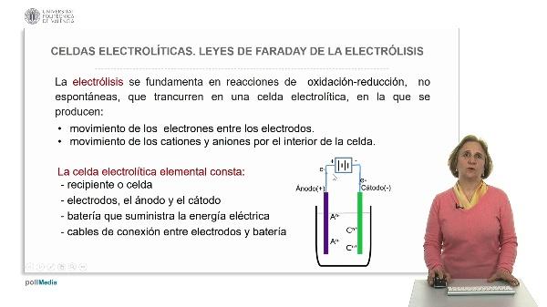 Celdas electrolíticas. Leyes de Faraday de la electrólisis