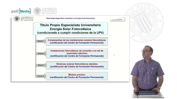 Explicación de la certificación a recibir en: Título Propio de Especialista Universitario en Energía Solar Fotovoltaica