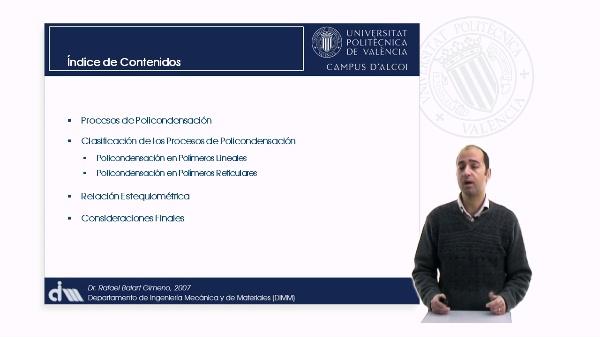 Procesos de Obtención de Materiales Poliméricos. Policondensación