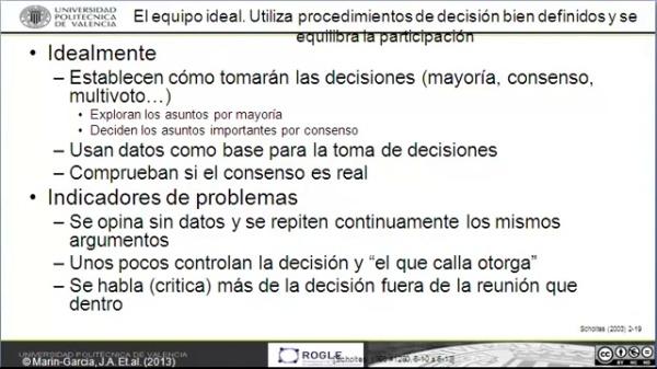 El equipo Ideal: Normas y procedimientos de decisiones