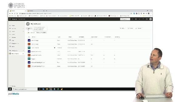 MOOC Power BI. Opciones del espacio de trabajo en el servicio en la nube