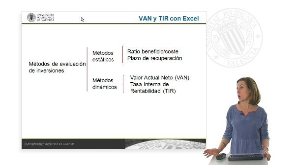 Cálculo del VAN y la TIR de una inversión con la hoja de cálculo Excel