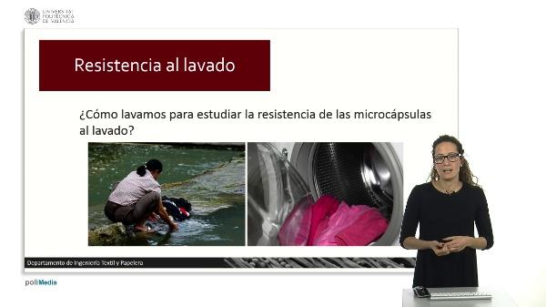 Resistencia de las microcápsulas al lavado.