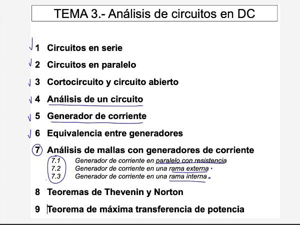 Teoría de Circuitos 1. Lección 3. 7.3.2 Análisis de mallas generador de corriente en rama interna ejercicio