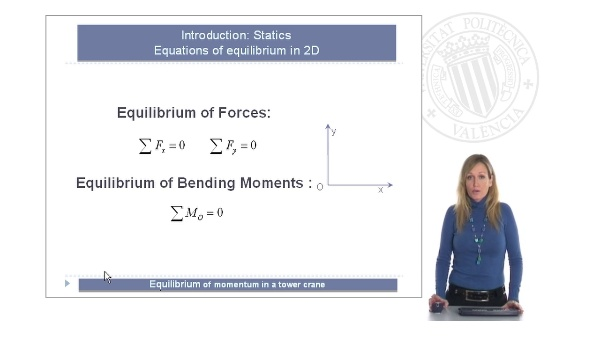Equilibrium of momentum in a tower crane