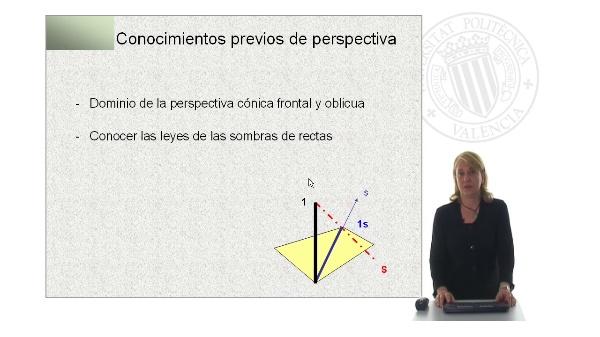 Aplicación de las leyes de sombras de rectas. Perspectiva cónica