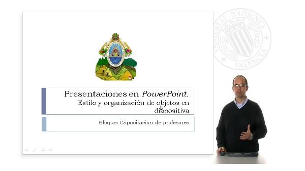 Preparación de una presentación Power Point. Estilo y organización de objetos en transparencias