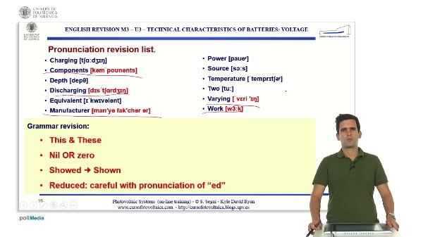 M3.U3.2. Technical characteristics of batteries: voltage. English Grammar / spelling revision