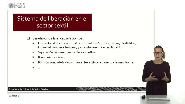 Sistema de liberación de microcápsulas en el sector textil.