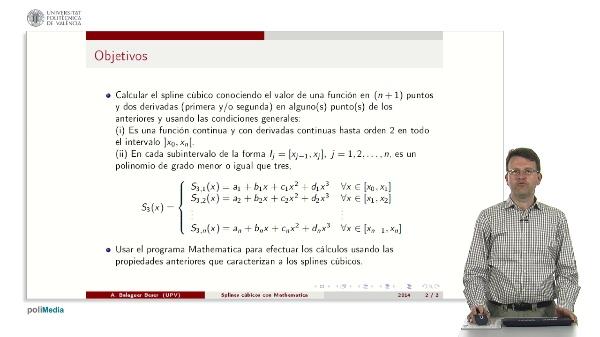 Splines cubicos usando condiciones generales con el programa Mathematica