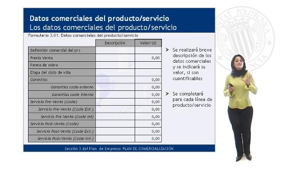 Los datos comerciales del Producto/Servicio