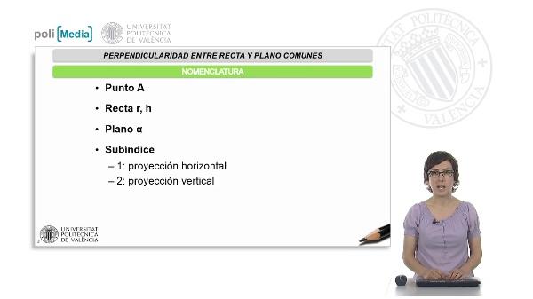 Perpendicularidad entre recta y plano empleando el sistema diédrico