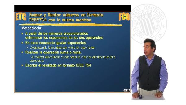 Operaciones en coma flotante IEEE754 mismo exponente