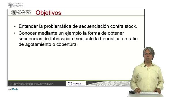 Ratio de agotamiento en secuenciación de sistemas de fabricación contra stock.