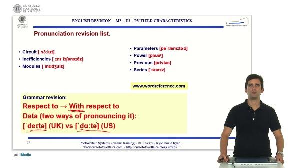 M3.U2.3. PV field characteristics. English Grammar / spelling revision