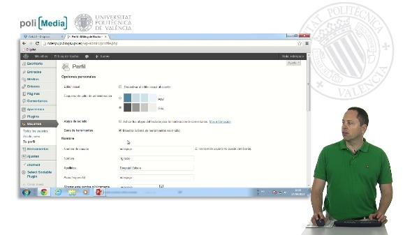 Editando el perfil en Poliblogs