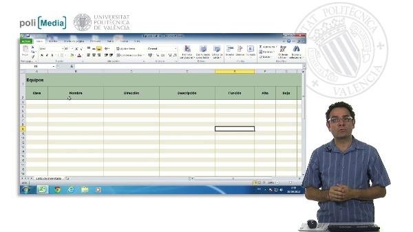 Catalogación de plantillas en Excel
