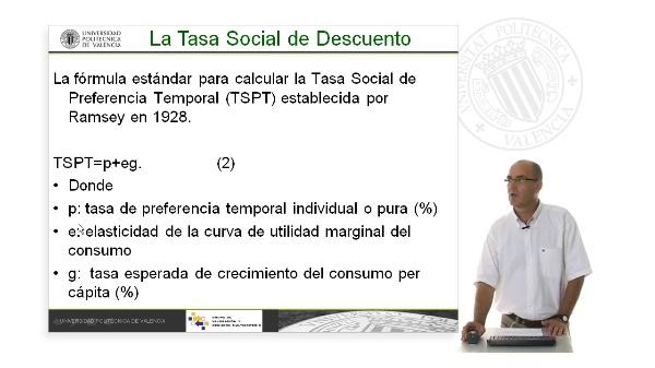 Cálculo de la tasa de descuento social. Fórmula de Ramsey