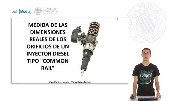 Medida de las dimensiones reales de los orificios de un inyector diesel tipo \