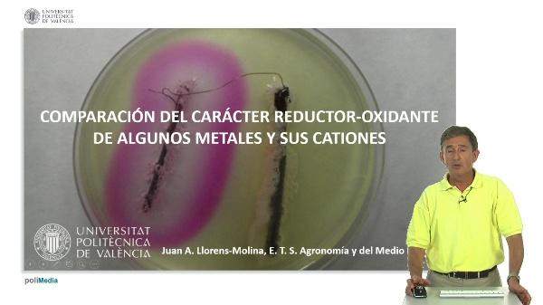 Comparación del poder reductor-oxidante de algunos metales y sus cationes