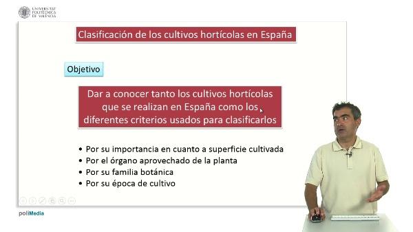 Clasificación de los Cultivos Hortícolas en España