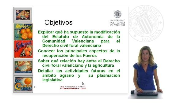 La recuperación del derecho civil foral valenciano y la agricultura