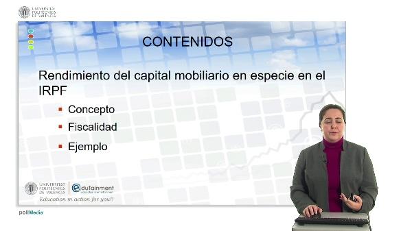 RENDIMIENTO DEL CAPITAL MOBILIARIO EN ESPECIE EN EL IRPF