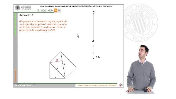 Superficies: poliedros regulares. El hexaedro en la representación ortográfica
