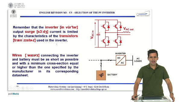 M3.U5.2. Selection of the PV inverter. English Grammar / spelling revision