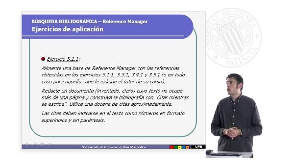 Reference Manager.Ejercicios de aplicación