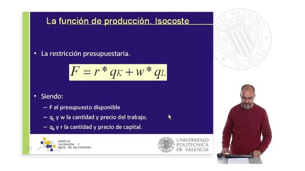 La oferta. La función de producción II: La función isocoste