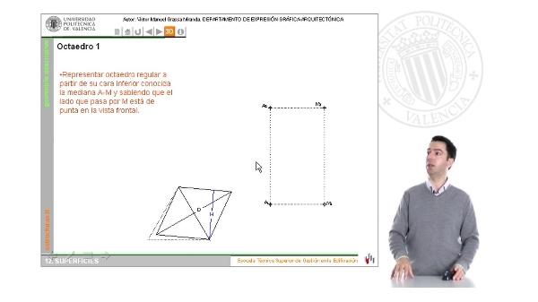 Superficies: poliedros regulares. El octaedro en la representación ortográfica