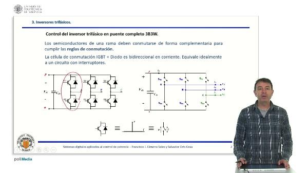 Modulación del inversor trifásico. Onda cuadrada y modulación senoidal.